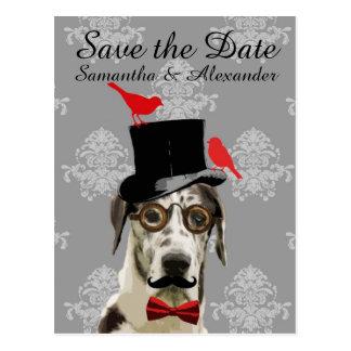 Reserva divertida del perro del novio del boda la postal