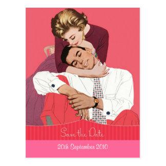 Reserva dulce del vintage la postal del boda de la