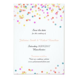 Reserva el   moderna alegre del confeti la fecha invitación 12,7 x 17,8 cm
