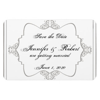 Reserva elegante afiligranada gris del boda del gr imán rectangular