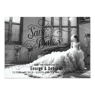 Reserva elegante blanco y negro la fecha invitación 12,7 x 17,8 cm