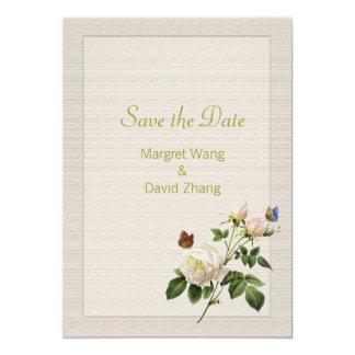 Reserva elegante de la flor del rosa blanco del invitación 12,7 x 17,8 cm