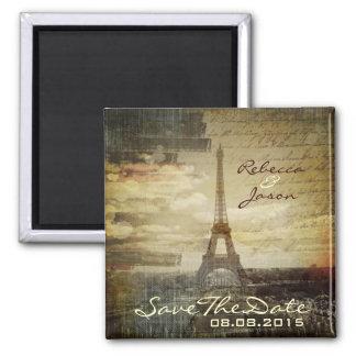 reserva elegante de París del vintage de la torre  Imán Cuadrado