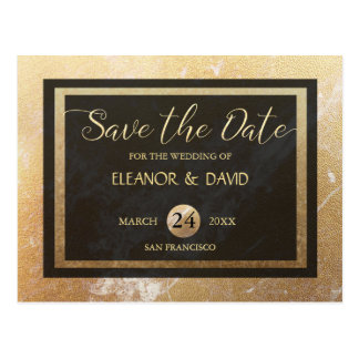Reserva elegante del boda del mármol del negro del postal