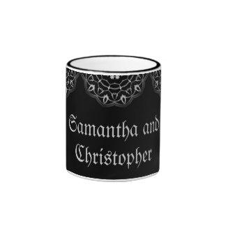 Reserva elegante del boda gótico la taza del nombr