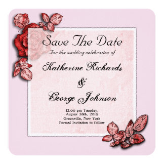 Reserva elegante del diseño del rosa la fecha invitación 13,3 cm x 13,3cm