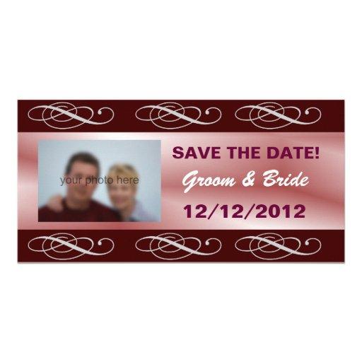 Reserva elegante Editable del boda de Borgoña la f Tarjeta Personal Con Foto
