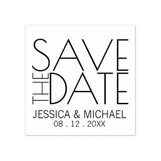 Reserva elegante moderna del boda la fecha sello de caucho