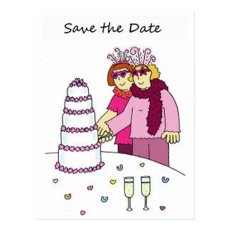 Reserva enrrollada de la lesbiana el boda de la postal