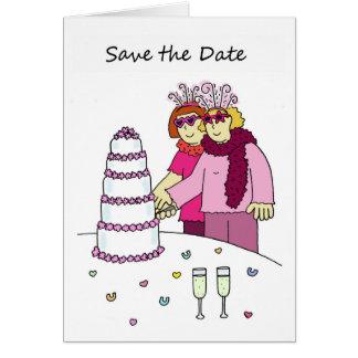 Reserva enrrollada de la lesbiana el boda de la tarjeta de felicitación