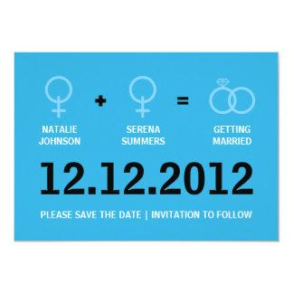 Reserva femenina del matrimonio homosexual la invitación 12,7 x 17,8 cm