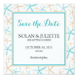 Reserva flaca del boda de las estrellas de mar la invitación 13,3 cm x 13,3cm