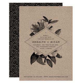 Reserva floral de Kraft el   la tarjeta de fecha Invitación 12,7 X 17,8 Cm