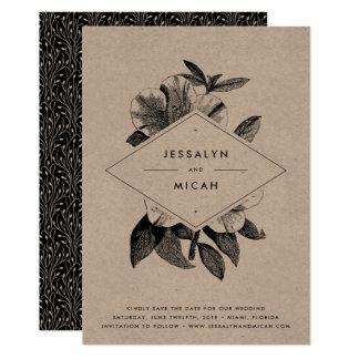 Reserva floral de Kraft la tarjeta de fecha Invitación 12,7 X 17,8 Cm