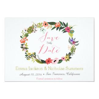 Reserva floral de la guirnalda la tarjeta de fecha invitación 12,7 x 17,8 cm