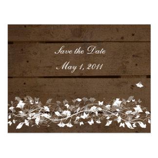 Reserva floral de los tablones de madera la fecha tarjeta postal