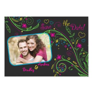 Reserva floral de neón de la foto del boda la invitación 12,7 x 17,8 cm