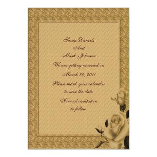 Reserva floral del boda de los capullos de rosa de invitación 12,7 x 17,8 cm