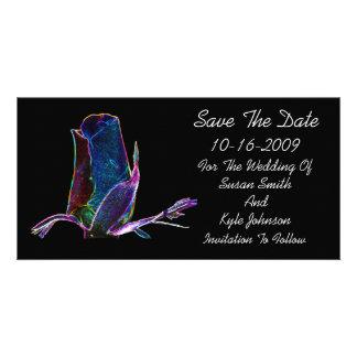 Reserva floral del boda del capullo de rosa elegan tarjeta fotográfica personalizada