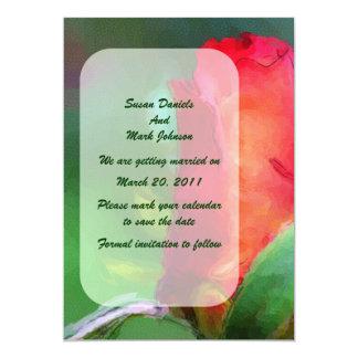 Reserva floral del boda del capullo de rosa rojo comunicado