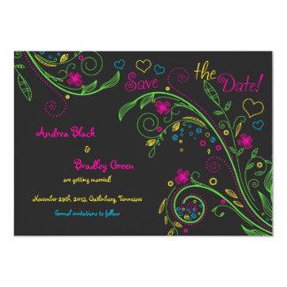 Reserva floral del boda del Doodle de neón la Invitación 12,7 X 17,8 Cm