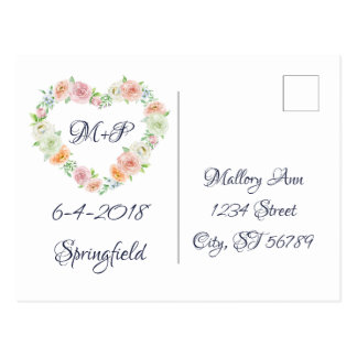 Reserva floral del boda del marco la postal de la