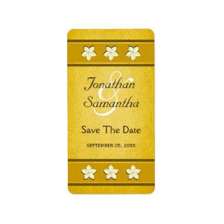 Reserva floral del oro rústico las etiquetas del etiquetas de dirección