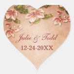 Reserva floral del vintage rosado de las azaleas pegatinas de corazon