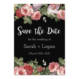 Reserva floral elegante la fecha invitación 12,7 x 17,8 cm