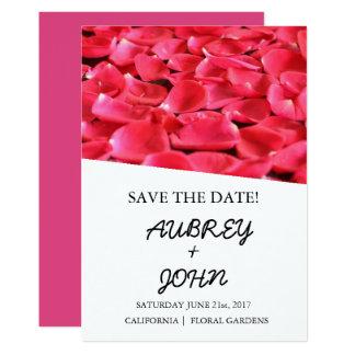 Reserva floral moderna color de rosa la fecha invitación 12,7 x 17,8 cm