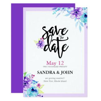 Reserva floral púrpura de la acuarela la fecha invitación 12,7 x 17,8 cm