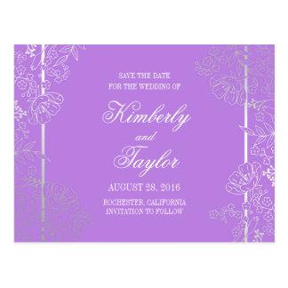 Reserva floral púrpura de plata de la decoración postal