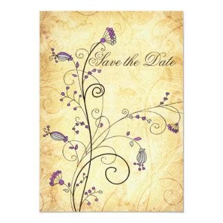reserva floral púrpura del vintage rústico las invitacion personal