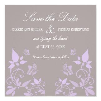 Reserva floral que la fecha invita, lila de la invitación 13,3 cm x 13,3cm