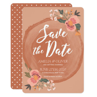 Reserva floral rústica de madera de Brown la fecha Invitación 12,7 X 17,8 Cm