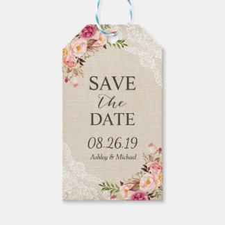 Reserva floral rústica del boda del cordón de la etiquetas para regalos