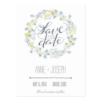 Reserva floral rústica la fecha postal