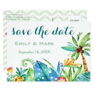 Reserva floral tropical la postal de la fecha invitación 8,9 x 12,7 cm