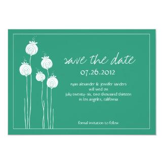 Reserva floral verde elegante la fecha invitación 12,7 x 17,8 cm