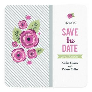 Reserva floral violeta la fecha invitación 13,3 cm x 13,3cm