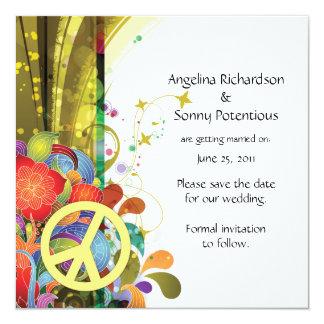Reserva floral y del signo de la paz abstracta la invitación 13,3 cm x 13,3cm