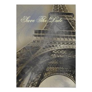 Reserva francesa parisiense del boda la fecha invitación 12,7 x 17,8 cm