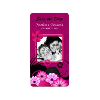 Reserva fucsia floral de la foto las etiquetas del etiquetas de dirección
