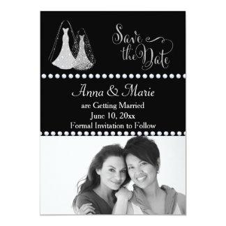 Reserva gay de la foto del boda la plata de la invitación 12,7 x 17,8 cm