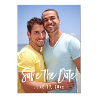 Reserva gay de la foto del boda las tarjetas de invitación 12,7 x 17,8 cm