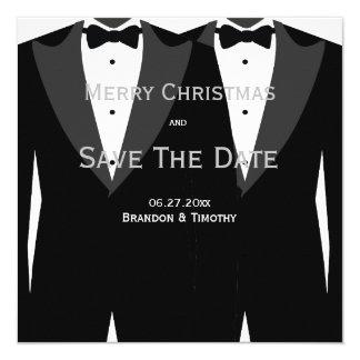 Reserva gay de la plata del boda las tarjetas de invitación 13,3 cm x 13,3cm