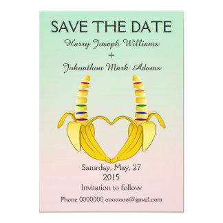 Reserva gay del boda del corazón del plátano de la invitación 12,7 x 17,8 cm