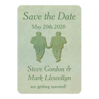 Reserva gay del boda la tarjeta de fecha - menta invitación 11,4 x 15,8 cm