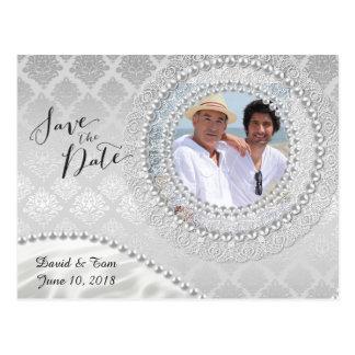 Reserva gay elegante de la bodas de plata la fecha postal