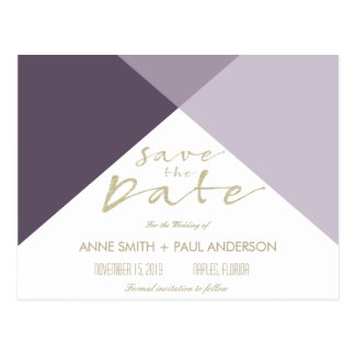 Reserva geométrica púrpura la fecha postal